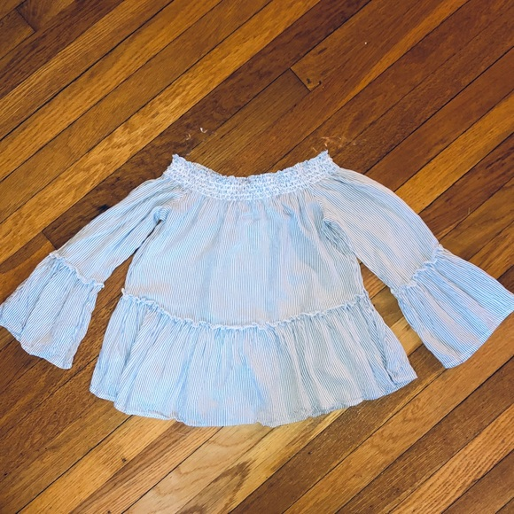 American Eagle Outfitters Tops - ⚡️AE pinstriped off the shoulder blouse⚡️